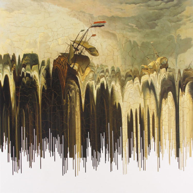SOUND WAVE 2012  oil on canvas 150x150cm
