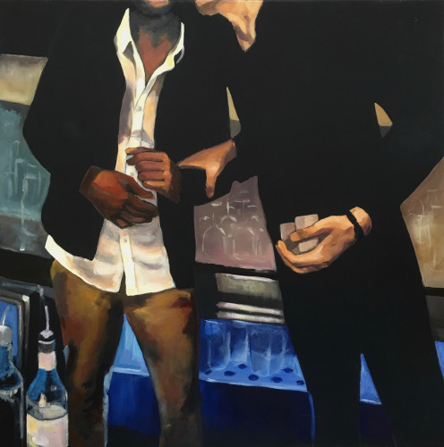 Man Talk IV,  80 x 80, 2016, oil on black canvas