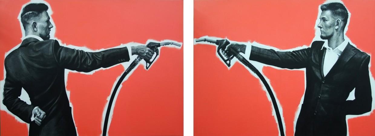 Duel, 2015, 110x300cm Acrylic, canvas
