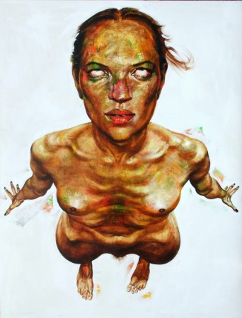 """Kate Moss flying"", 2014, acrylic on canvas, 150x110 cm"