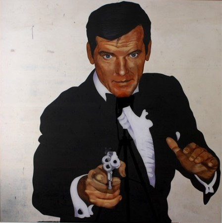 ROGER MOORE, 2013, 100x100cm Acrylic on organic glass