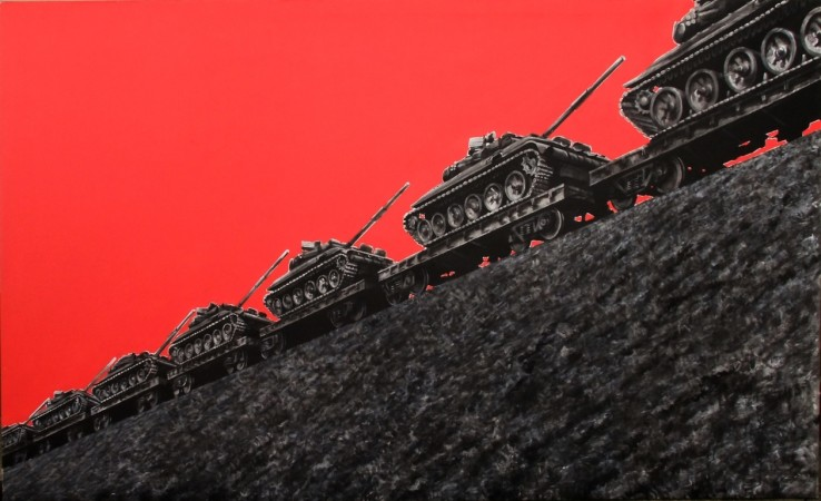 Troop train, 2014, 150x250cm Acrylic, canvas