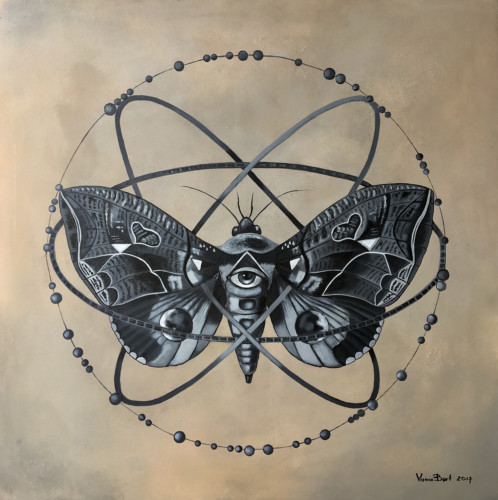 MOTH  Oil, acrylic on canvas. 100 x 100 cm, 2017